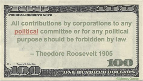 Theodore Roosevelt Proposes Tillman Act - Money Quotes