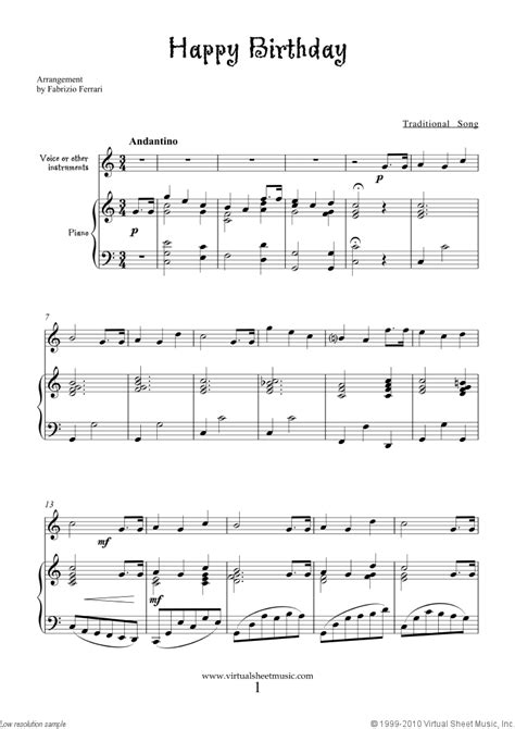 Happy Birthday free sheet music to download for piano