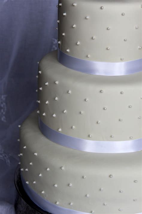Cake Flair: Simple White with Pearls Wedding Cake