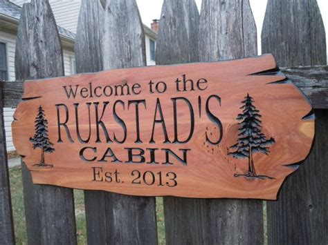 Cabin Lodge Bungalow Sign Personalized Lake House Last