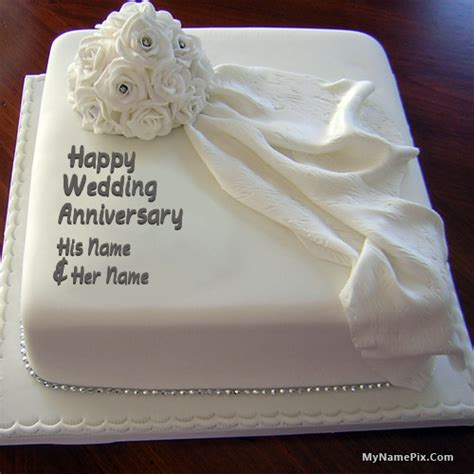 Happy Anniversary Cake with Names Wishes
