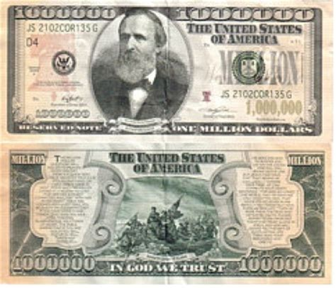 Free: Collectable Rare $1000000 MILLION DOLLAR BILL Hayes