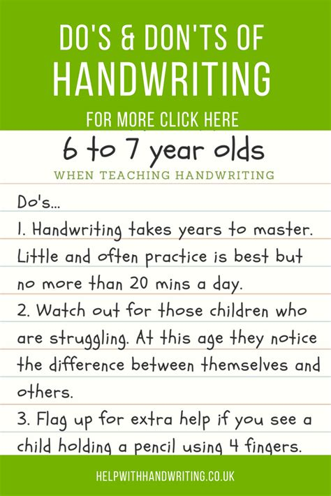 Handwriting tips for 6 to 7 year olds from