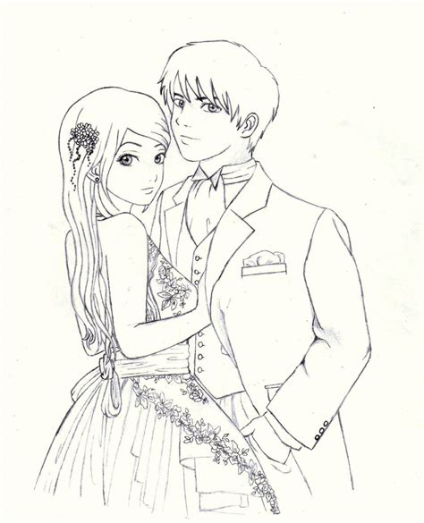 Anime Girl And Boy Hugging Easy Outlines | Division of