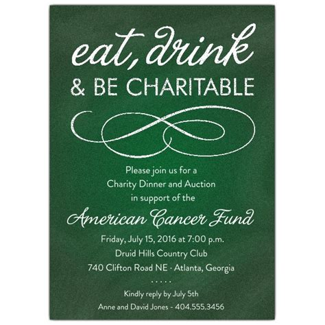 Chalkboard Green Charity Invitations | PaperStyle