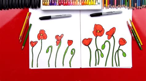 How To Draw Poppies - Art For Kids Hub