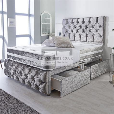 Belmont Silver Crushed Velvet Divan with Airflow Spring