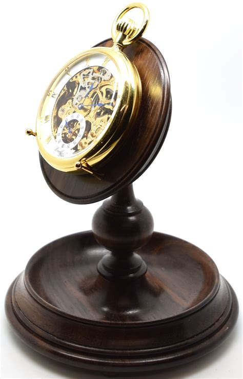 Rosewood Single Stem Pocket Watch Stand (a40r) (Watch not