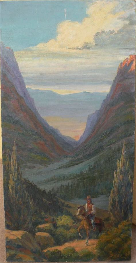 Western American art signed impressionist painting of
