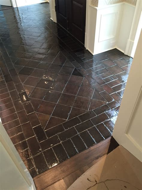 BEFORE AND AFTER STAINING SALTILLO TILE - design indulgence