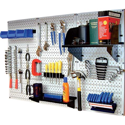 Wall Control Industrial Metal Pegboard — White, Three 16in