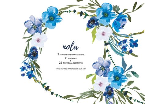Watercolor Blue Flowers Clipart ~ Illustrations ~ Creative