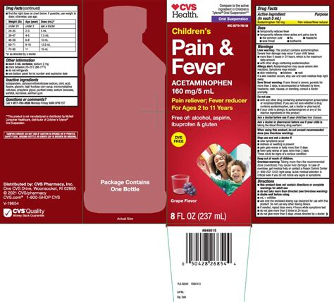 DailyMed - PAIN AND FEVER CHILDRENS- acetaminophen suspension