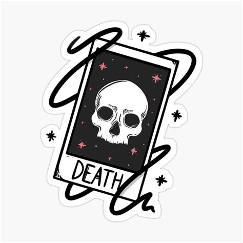 Death tarot card , spooky skull witchy cards Sticker by