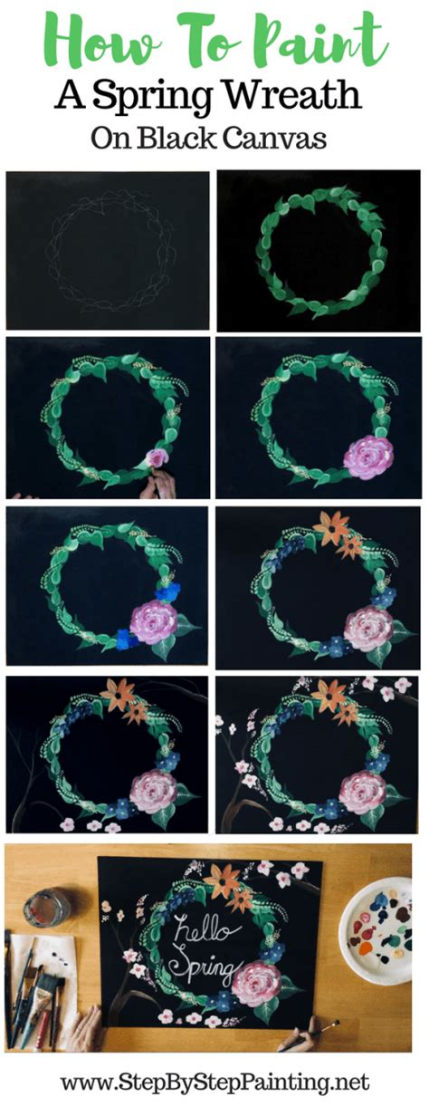 How To Paint A Wreath On Canvas - Acrylic Painting Step By