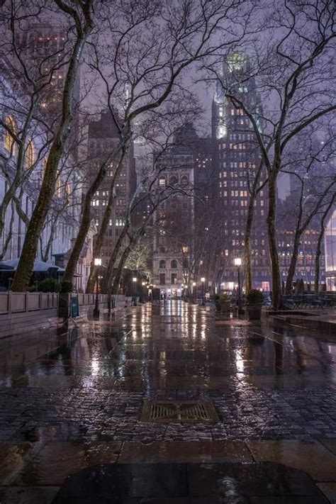 Bryant Park During the Rain Magical New York in the Fog
