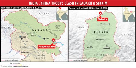 Indian and Chinese troops clash in Sikkim and Ladakh