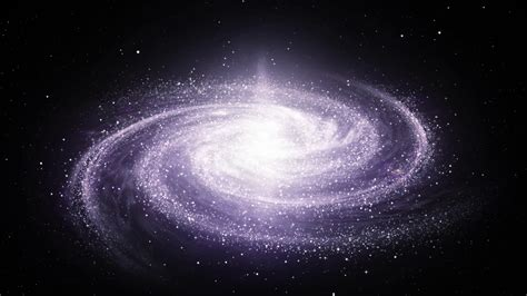 Spiral Milky Way galaxy rotating in space filled with