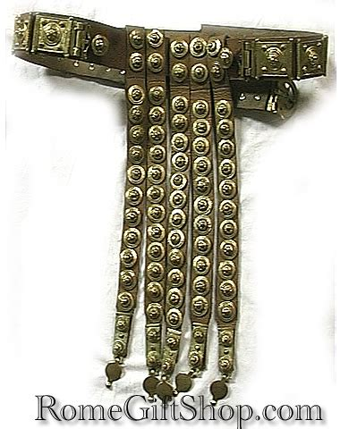 Classic Roman Soldier Belt made of Leather and Brass
