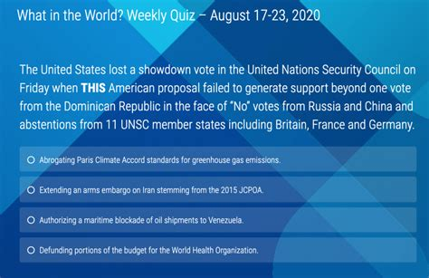 """""""What In The World? Weekly Quiz"""" - August 17-23, 2020 - TNWAC"""