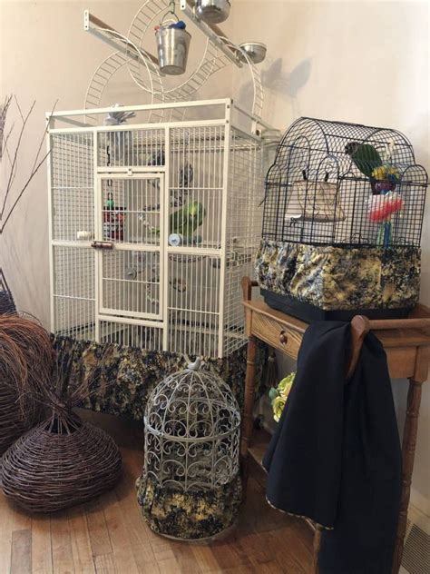 Details about Handcrafted Black & Tan Fabric Bird Cage