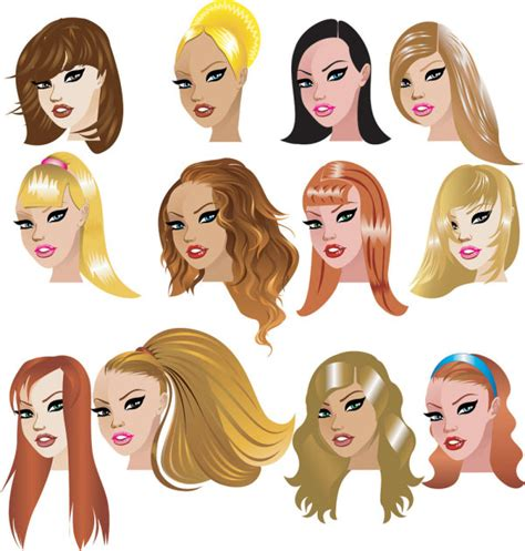 Cartoon woman hairstyle 02 - vector_Download free vector