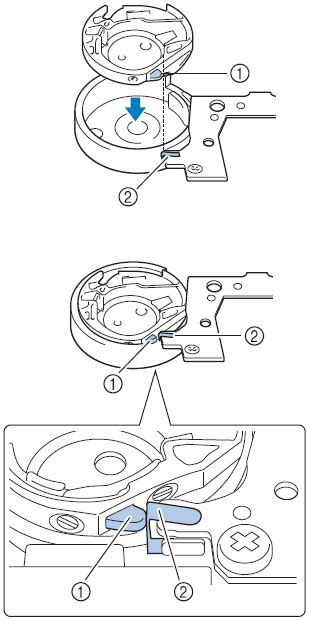 How do I insert the bobbin case in the machine?   Brother