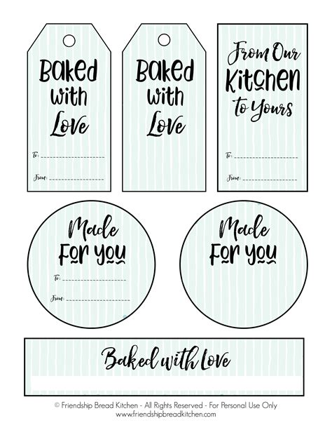 Printable Labels and Gift Tags | Friendship Bread Kitchen