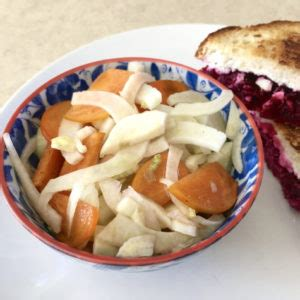 Ricotta and beet grilled cheese with fennel persimmon