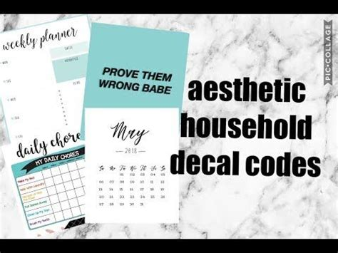 Aesthetic Household Picture Codes (planners, chores