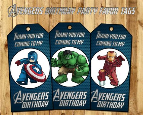 Avengers Favor Tags - Lego Avengers Birthday by