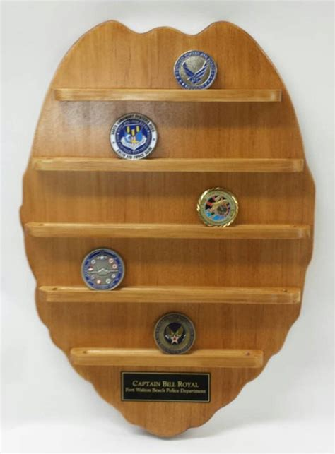 Wall Hanging Police Badge Challenge Coin by DavesWoodDesigns